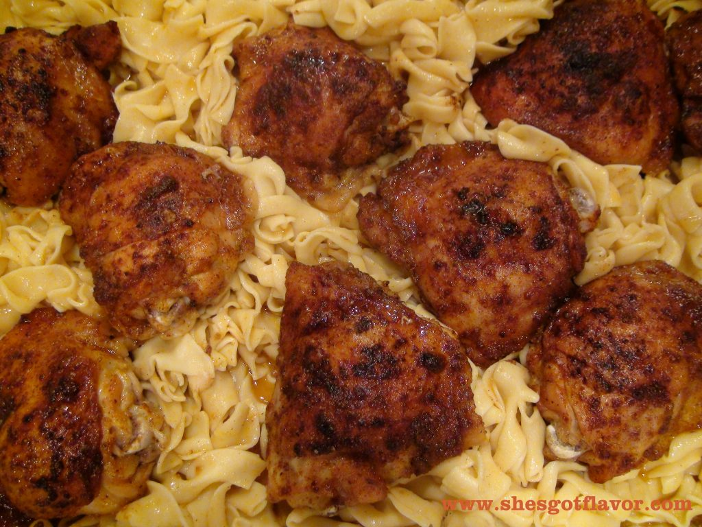 baked chicken and noodles www.shesgotflavor.com