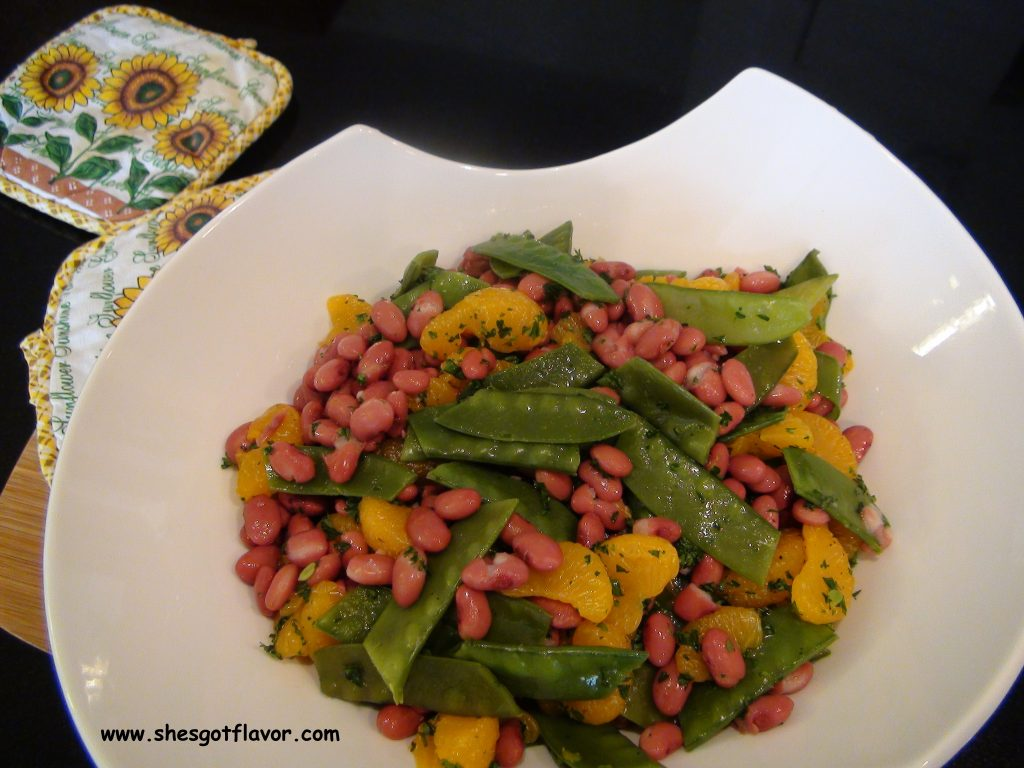 www.shesgotflavor.com mandarin orange, red beans and snow peas
