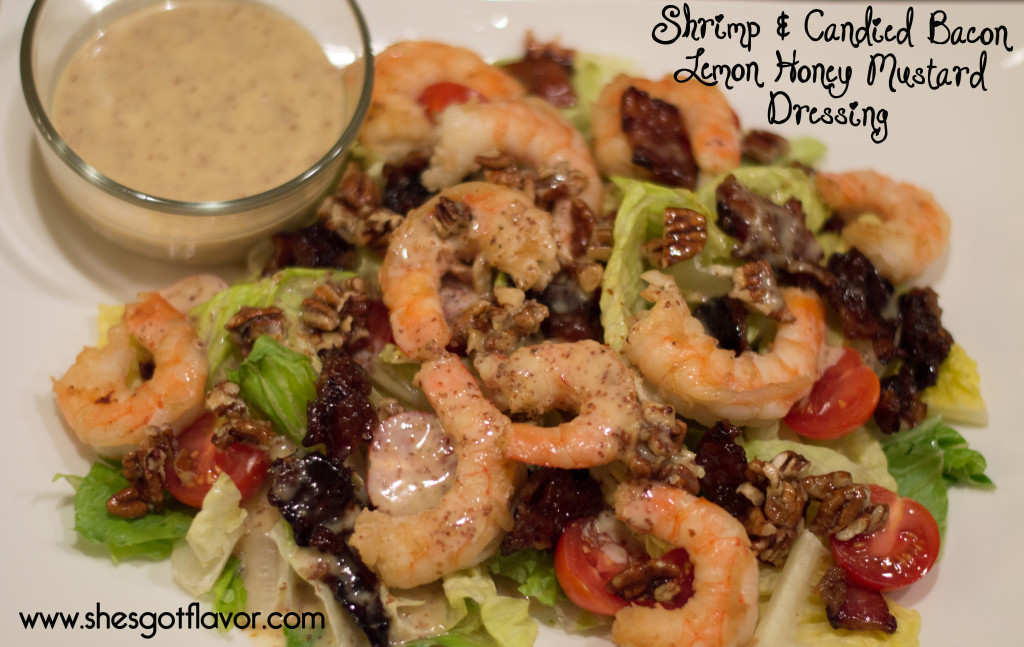 www.shesgotflavor.com shrimp and candied bacon salad lemon honey mustard dressing utokia langleu
