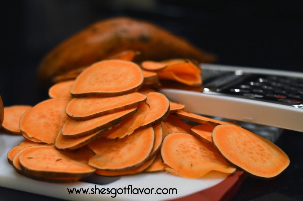 Utokia Langley makes Sweet Potato Chips with Garlic Aioli Dipping Sauce