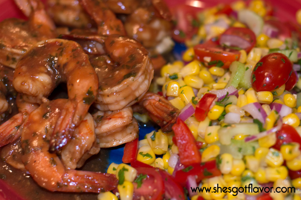 Grilled Bar-B-Que Shrimp with Citrus Corn Salad foil packet