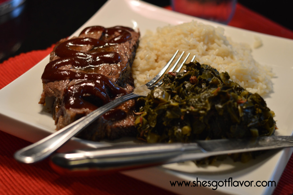 Bourbon Bar-B-Que Brisket greens and rice